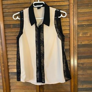 Wet seal lace and nude sleeveless top.